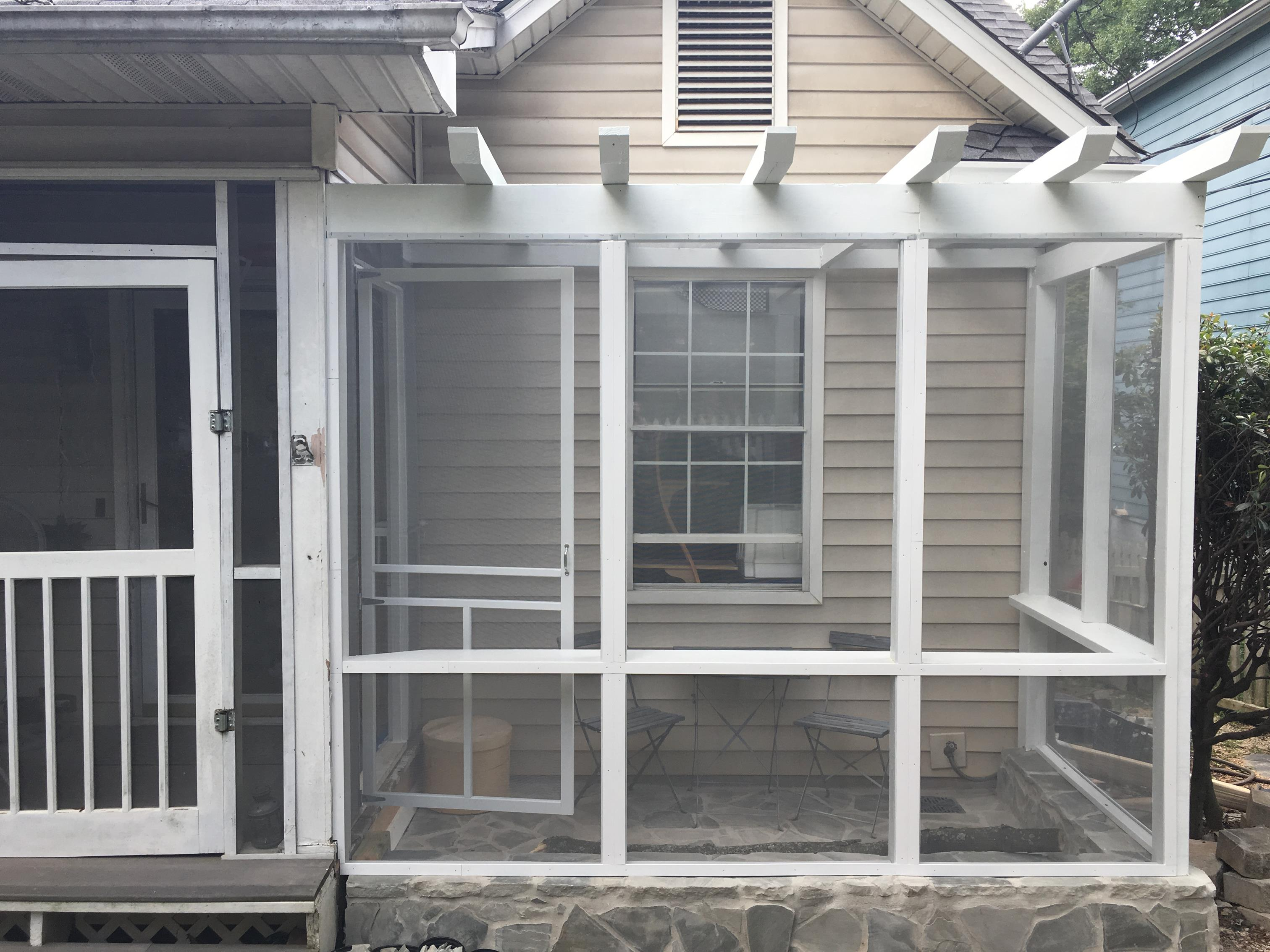 Open window, screen removed allows access.